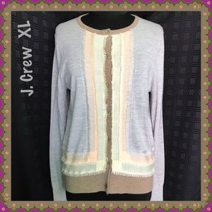 J. Crew Gray Brown Pink Cream Cashmere Cardigan XL